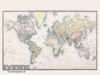 Used Look Cream Wall Picture World Map