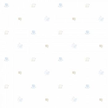 Tapete Hundepfoten Blau-Braun Weiß Lullaby
