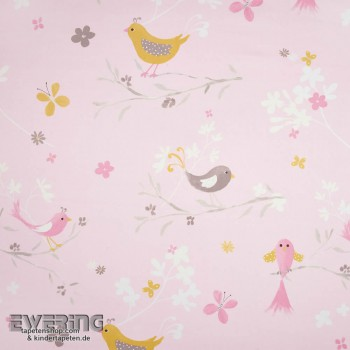 Rosa Blüten Deko-Stoff Vögel