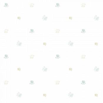 Tapete Pfotenabdrücke Grau-Beige Kinderzimmer Lullaby