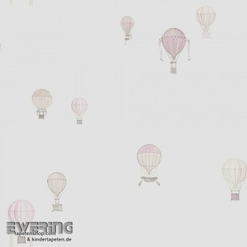Rosa Papier-Tapete Heißluftballons