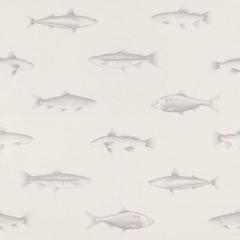 Fische Vliestapete Weiß Silber