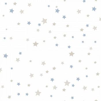 Tapete Sterne Hellblau Beige _L