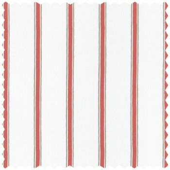 Decorative fabric cream red stripes