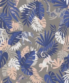 Non-woven wallpaper taupe / blue jungle