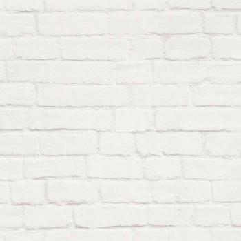 Creme-Weiß Maueroptik Vlies Tapete