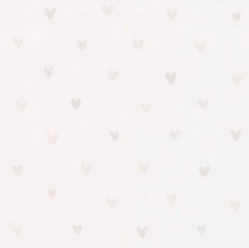 Vliestapete Silber Creme-Weiß Herzchen