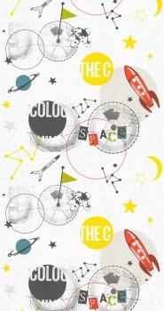 Tapete Space Weiß Bunt