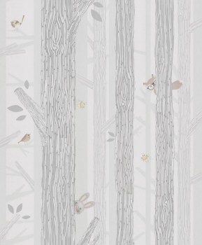Trees birds non-woven wallpaper green