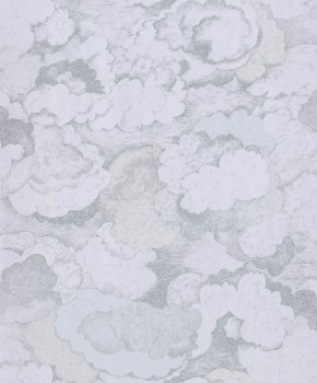 Clouds non-woven wallpaper light blue