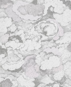 Clouds non-woven wallpaper pink