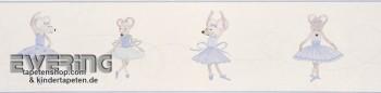 wallpaper border cream-white mice