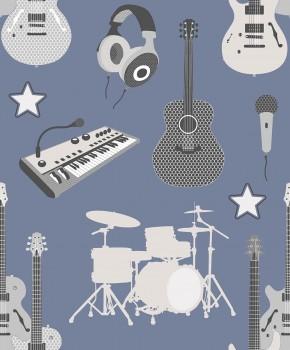 Tapete Instrumente Band Tauben-Blau