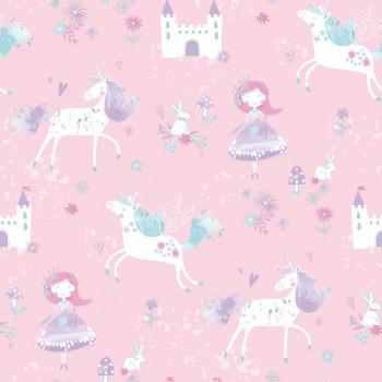 Wallpaper non-woven pink unicorns