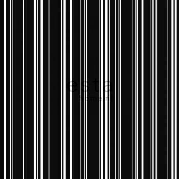 Non-woven wallpaper stripes black white