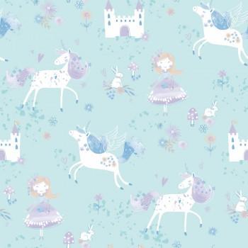 Wallpaper unicorns bright turquoise