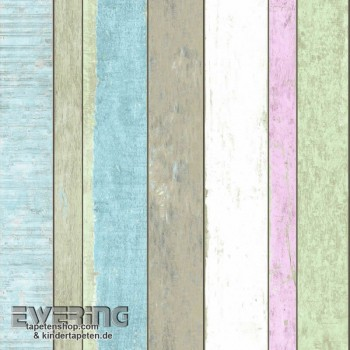 Used Look wood look non-woven wallpaper colorful