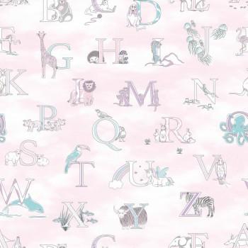 Wallpaper non-woven abc pink