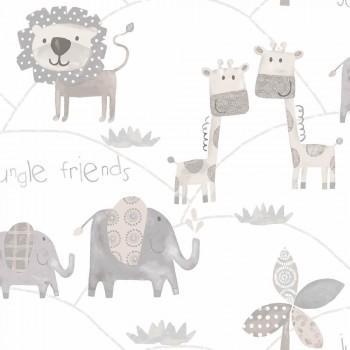 Non-woven wallpaper animals bright grey