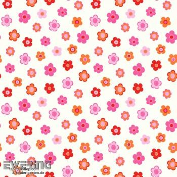 Blumen Weiß Vliestapete