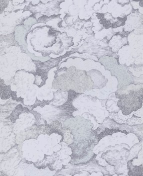 Non-woven wallpaper clouds blue