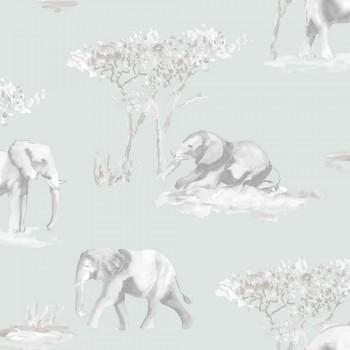 Tapete Vlies Mint-Grün Elefanten