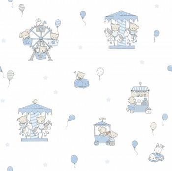 Tapete Tiere Blau-Weiß Lullaby