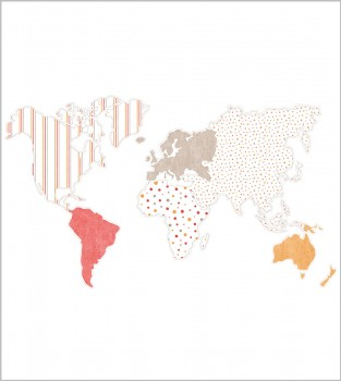 Weltkarte Wandbild Mädchen