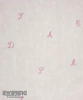Grau Buchstaben Papiertapete Sterne