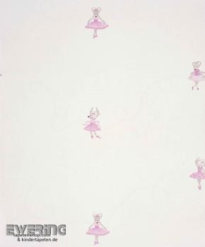 Papiertapete Maus-Ballerina Creme-Weiß