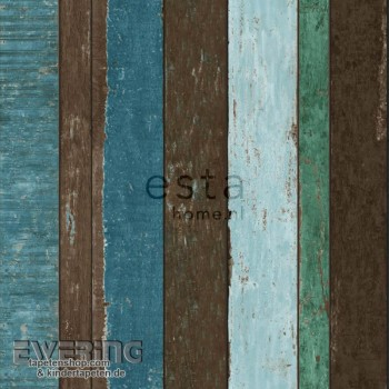 Used Look Wood Optic Green-Blue non-woven