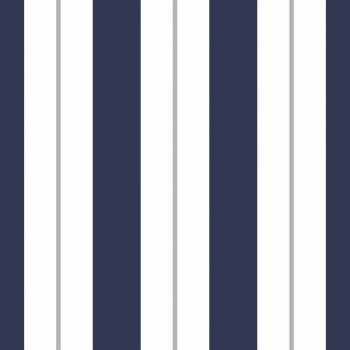 Tapete Streifen Blau Weiß Grau