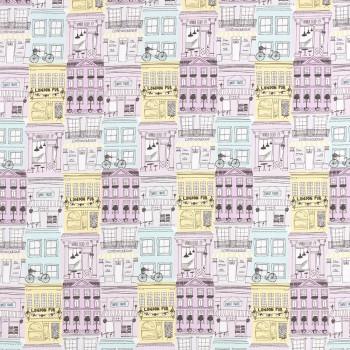 Decoration fabric city motif girl