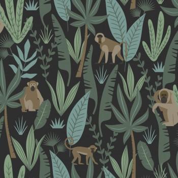 Tapete Schwarz Grün Affen