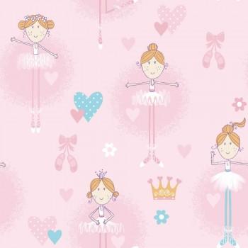 Pink Ballerina non-woven wallpaper