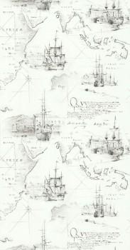 wallpaper seafaring map cream