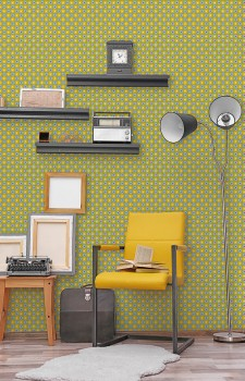 Wandbild Kleine Blümchen Senf-Gelb