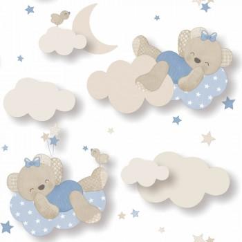 Tapete Bärchen Wolken Blau