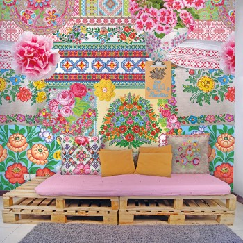 Mural colourful patterns flowers