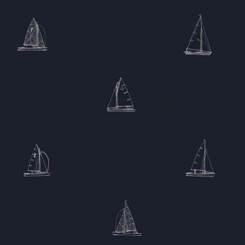 Tapete Dunkel-Blau Segelboote