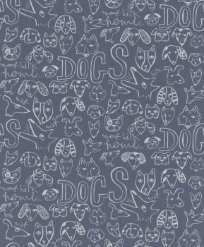 non-woven wallpaper dogs blue