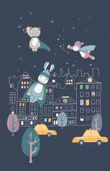 Night blue mural City