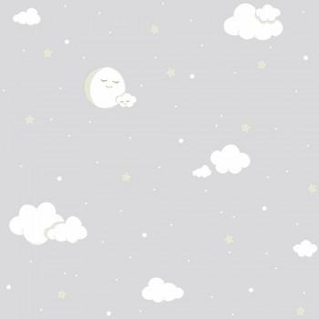 Tapete Wolken Sterne Grau 23-102213 Rasch Textil Lullaby
