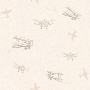 SALE 3er Set Beige Flugzeuge Tapete