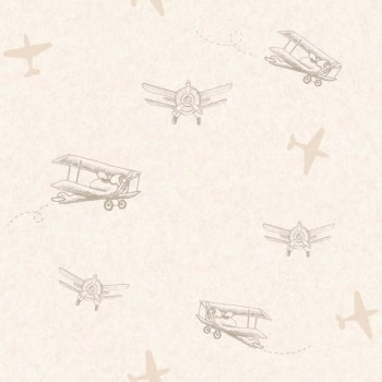 SALE set of 3 Beige Airplanes Wallpaper