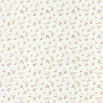 Vlies-Tapete Creme Rosa Blümchen