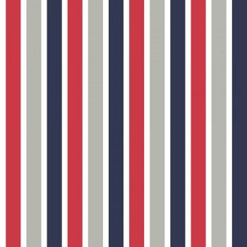 Tapete Streifen Rot Blau Grau