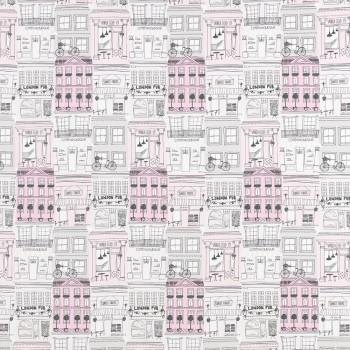 Decoration fabric city motif pink