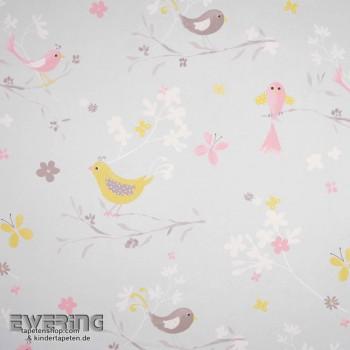 Dekostoff Hell-Grau Vögel Blüten