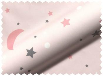 Sterne Mond Rosa Stoff Volie